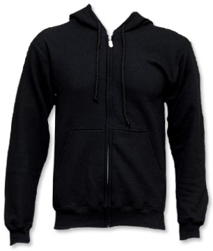 5x Fruit Of The Loom Hoody Zipper (black)